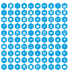 100 calculator icons set blue vector image vector image