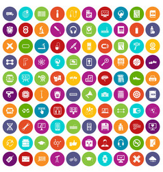 100 training icons set color vector