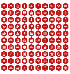 100 yoga studio icons hexagon red vector