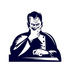 Doctor hand on chin woodcut vector