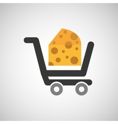 Cart buy delicious cheese food vector