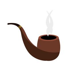 Wooden pipe isolated icon vector