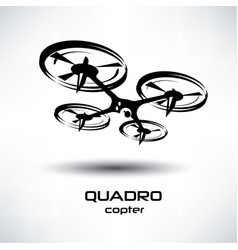 drone icon quadrocopter stylized symbol vector image