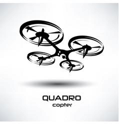 Drone icon quadrocopter stylized symbol vector