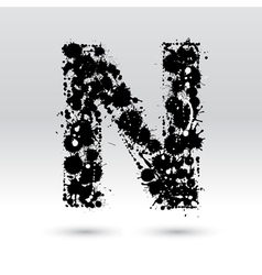 Letter n formed by inkblots vector