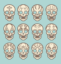 Vintage style mexican skull set vector