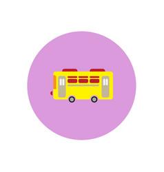 Stylish icon in color circle retro bus vector