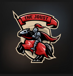 the emblem of a medieval knight on a horse vector image