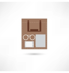 eyeglasses e-book and sheet of paper inside the vector image
