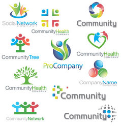 Social community icons logos set vector
