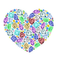 Heart made of different gemstones vector