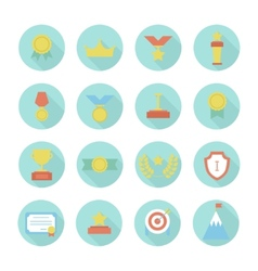 Award icons colorful set of prizes and trophy vector