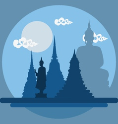 Flat design landscape of thailand temple vector