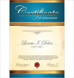 Blue and gold certificate template vector image