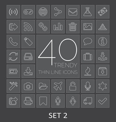 40 trendy thin line icons for web and mobile set 2 vector
