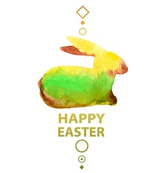 Watercolor easter card with rabbit vector