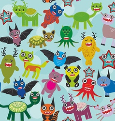 Cute cartoon monsters seamless pattern on blue vector