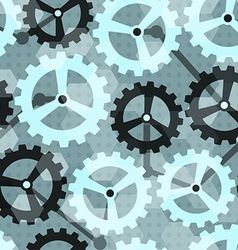 Blue cogwheel seamless pattern vector