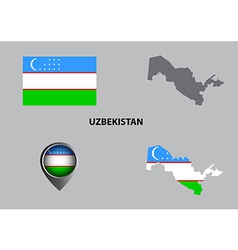 Map of uzbekistan and symbol vector