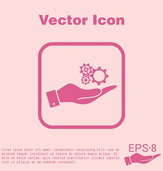 Hand holding a symbol settings cogwheel icon vector