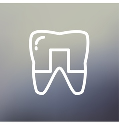 Crowned tooth thin line icon vector