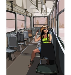 Cartoon girl in the hat travels to the old tram vector
