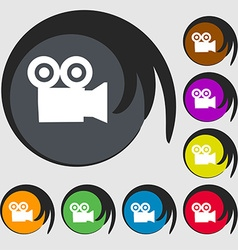 Video camera icon sign symbol on eight colored vector