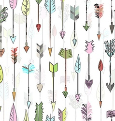 Hand drawn colored arrows collection doodle ethnic vector