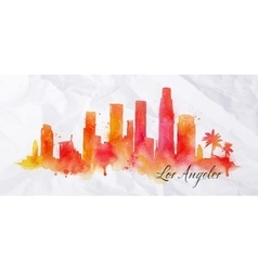 Silhouette watercolor los angeles vector