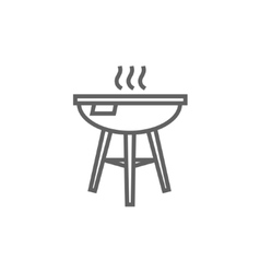 Kettle barbecue grill line icon vector