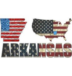 Usa state of arkansas on a brick wall vector