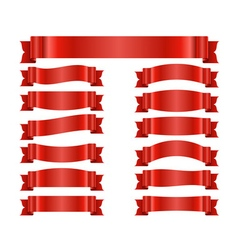 Red ribbon banners set satin vector
