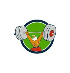 Bald eagle weightlifter lifting barbell circle vector