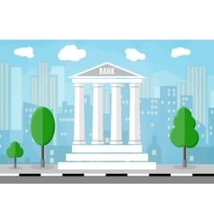 Bank building with trees and city skylines behind vector