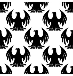 Black eagle seamless pattern vector image