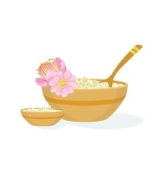 Bowl with handmade natural cosmetic product for vector