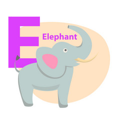 Children s alphabet icon cartoon elephant letter e vector