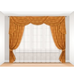 Classic beige curtain with damask pattern vector