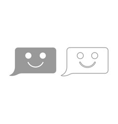 Comment smile message icon grey set vector