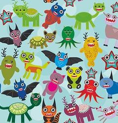 Cute cartoon Monsters seamless pattern on blue vector image