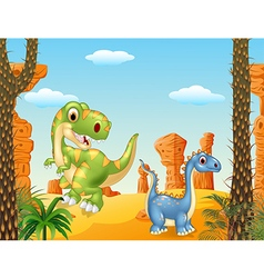 Cute dinosaur posing in the desert background vector image vector image