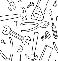 doodle tools pattern seamless vector image vector image