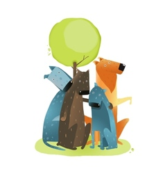 Group of Cartoon Dogs Sitting under Tree vector image vector image
