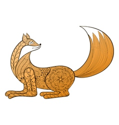 Happy fox hand drawn zentangle artistic animal for vector
