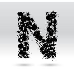 Letter N formed by inkblots vector image