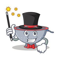 Magician colander utensil character cartoon vector