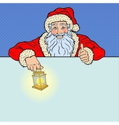 Pop Art Santa Claus with Advertising Empty Banner vector image