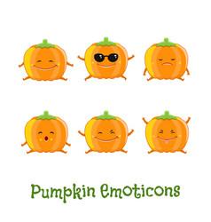 Pumpkin smiles cute cartoon emoticons emoji icons vector