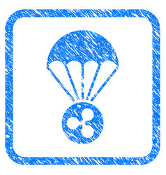 Ripple parachute framed stamp vector