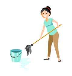 Smiling woman washing floor vector